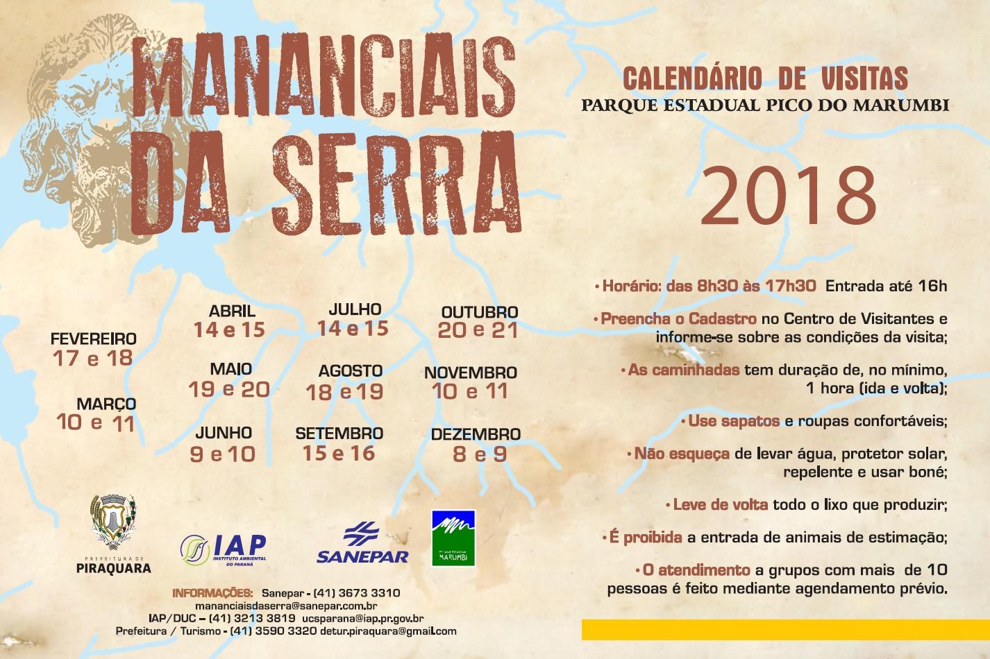 Calendário 2018 Mananciais da Serra em Piraquara
